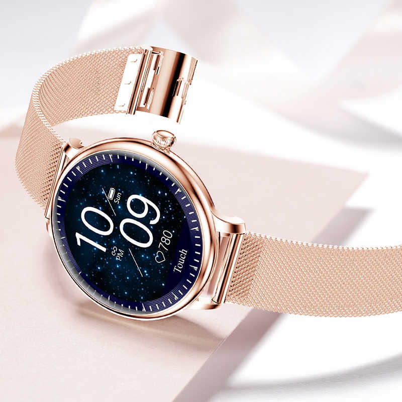 Luik 2020 Nieuwe Slimme Horloge Vrouwen Fysiologische Hartslag Bloeddruk Monitoring Voor Android Ios Waterdichte Dames Smartwatch