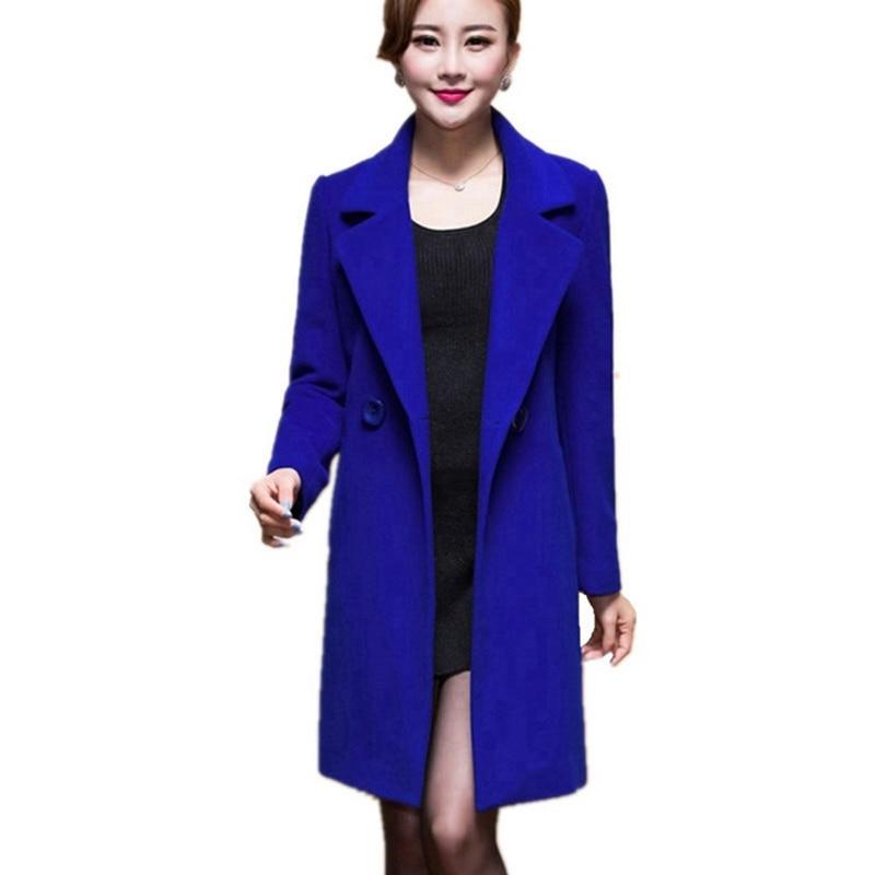 Wool Coat Female Fashion Women Woolen Coats High-end Elegant Long Slim Winter Jacket Royal Coats&Jackets Plus Size Femininos 4XL