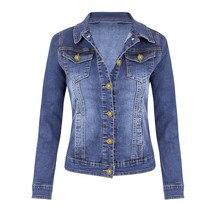 Women Jeans Autumn Jacket Casual Coat Long Sleeve Pocket Button Denim Jacket Coat Women's Spring Jacket Windbreaker цена