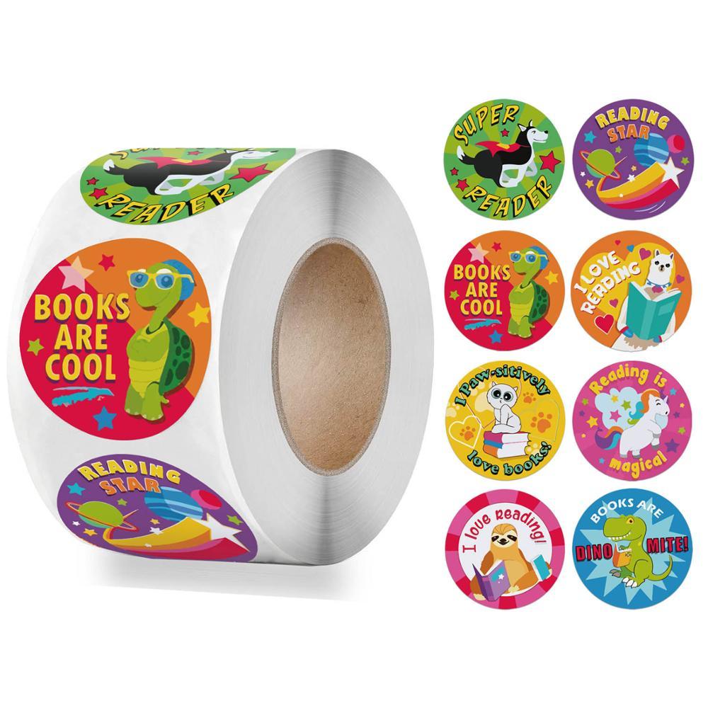 Cute Animals Reward Sticker 500pcs/roll 1 Inch for Kids Children Cartoon Words Seal Labels Round Encourage Sticker