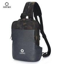 OZUKO mode hommes poitrine Pack multifonction USB charge bandoulière sac de messager mâle résistant à l'eau fronde épaule sacs de voyage
