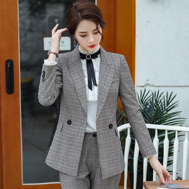 Elegant professional women's suits Autumn and winter new double-breasted slim plaid jacket Casual pants suit Office work clothes