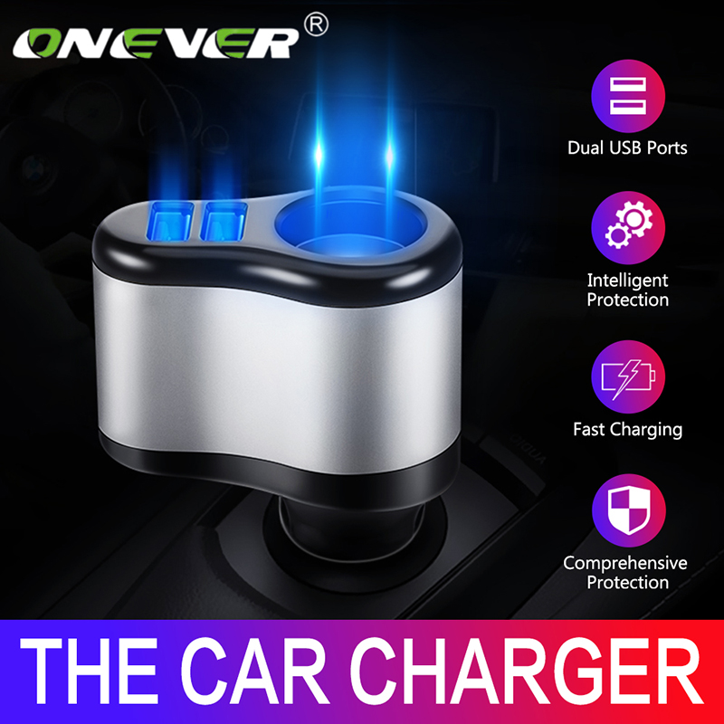 Onever Dual USB Electronic Cigarette Lighter Car Lighter Charger Socket Splitter Adapter 3.1A Charger For IPhone Phone 12V-24V