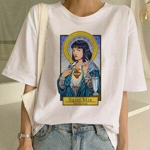 Pulp filme de ficção engraçado impressão t camisa feminina mia harajuku ulzzang verão camiseta moda virgem mary camiseta superior t feminino