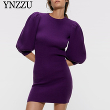 Round neck Women knitted dress 2019 Autumn Winter Lantern sleeve Slim Chic Female Purple Black Mini vestidos YNZZU YD294