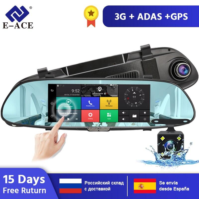 E-ACE Android GPS navegación coche Dvr 3G Wifi Cámara 7 pulgadas GPS navegadores 1080P Video grabadora espejo retrovisor Quad core Android 8,1 para HYUNDAI IX45 SantaFe 2013, 2014, 2015, 2016, 2017 Multimedia estéreo reproductor de DVD del coche de navegación GPS Radio
