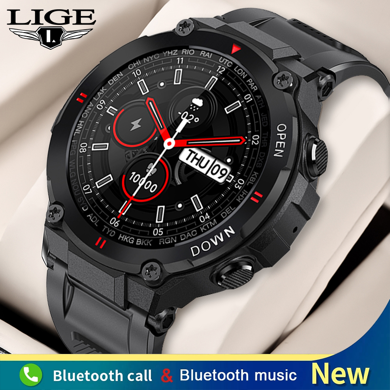 LIGE New Bluetooth Call Smart Watch Men Outdoor Sports Watch Fitness Tracker Heart Rate Music Control Smartwatch For Android IOS