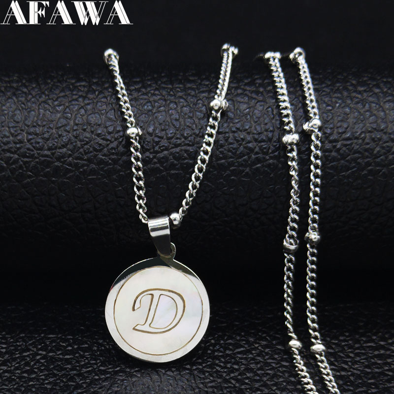 2019 D Letter Stainless Steel Shell Necklace Women Bead Silver Color Small Necklaces Pendants Jewelry collier femme N19272 in Pendant Necklaces from Jewelry Accessories