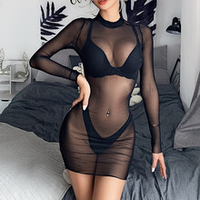 Women Sexy See Through Swimwear Long SleeveMesh Sheer Bikini Cover Up Beach Dress Summer Clubwear Party Bathing Suit(China)