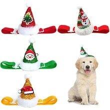4 цвета, Рождественская Кепка для домашних животных, для маленьких средних собак и кошек, регулируемая эластичная веревка, головные уборы для домашних животных, вечерние повязки на голову, аксессуары для домашних животных
