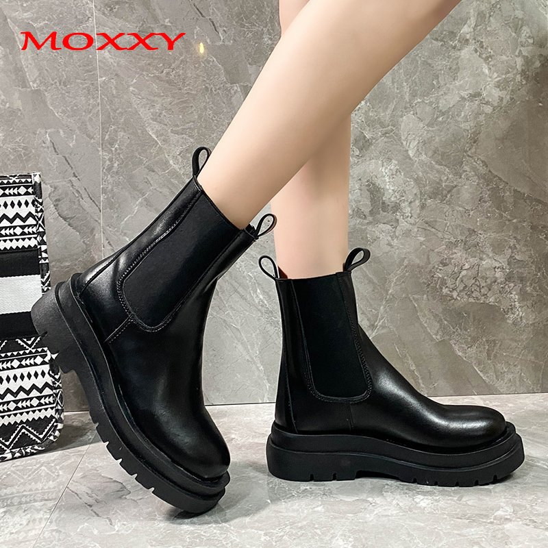 Moxxy Leather Combat Boots Women 2020 New Autumn Stretch Platform Boots Gothic Shoes Woman Black Red White Punk Ankle Boots