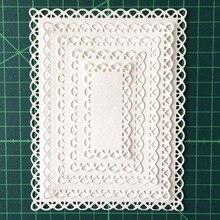 Nested Genäht Scallop Rechteck Rahmen Metall Schneiden Stirbt DIY Geätzt Stirbt Handwerk Papier Karte, Der Scrapbooking Präge