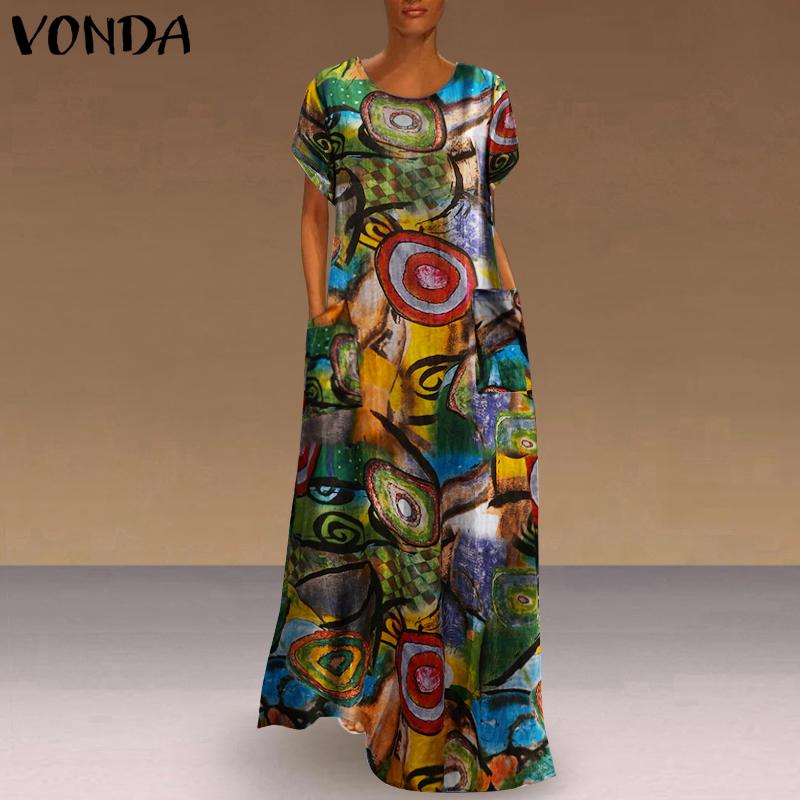 Long Printed Maxi Dress 2021 Casual Women's Summer Sundress VONDA Bohemian Female Printed Robe Short Sleeve Vestidos Plus Size