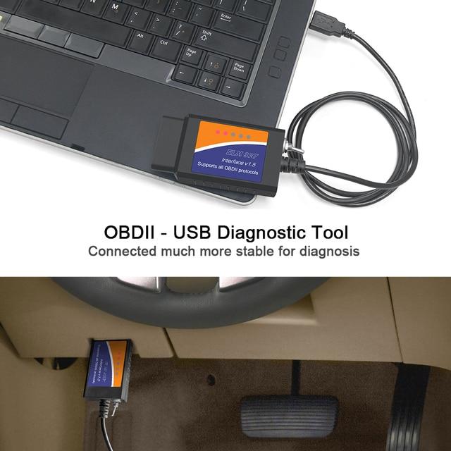 ELM327 OBD2 Scanner elm 327 USB v1.5 Bluetooth Code Reader Auto Diagnostic Scanner Tool Made for Forscan Automotive 6