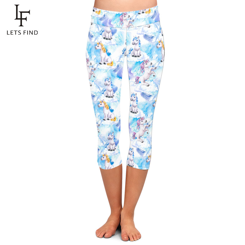 LETSFIND 220gsm Double Side Brushed Milk Silk Print 3D Baby Unicorns Pattern High Waist Plus Size Slim Mid-Calf Leggings 1