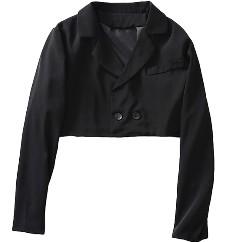 Women Stylish Black Textured Blazer Coats Short Blazers And Jackets Lady Long Sleeve Short Blazer Suit Jacket Women New II50XZ