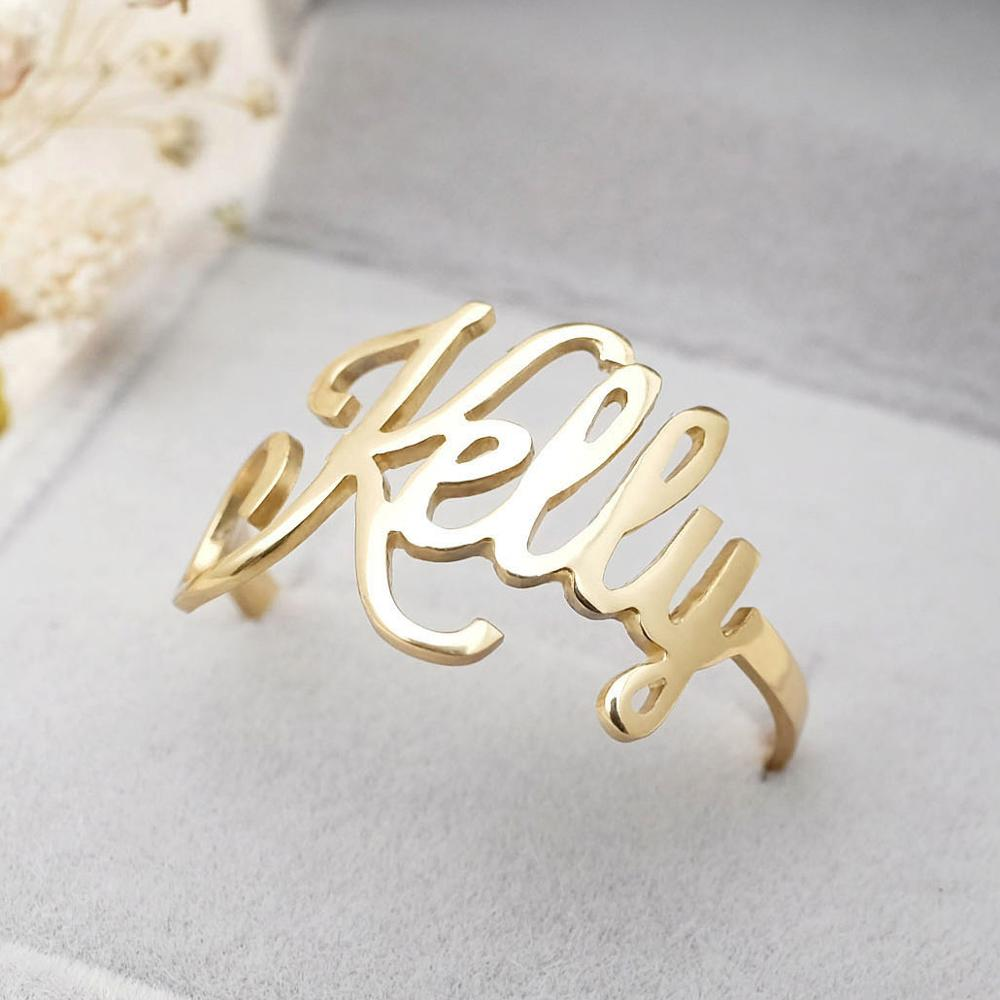 Custom Name Ring Personalized Name Ring With Heart,Custom Ring With Name For Women Letters On Ring Christmas Gift For Her