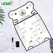 Cute Bear Magnetic Message Whiteboard Office Remind Memo Pad Fridge Magnet To do list Calendar Monthly Daily Planner with Marker