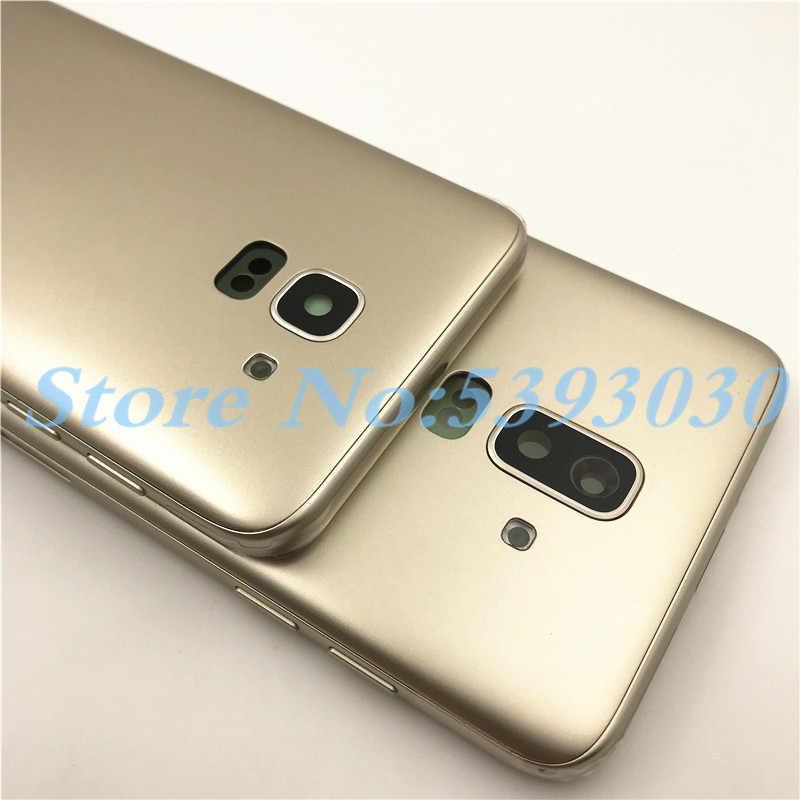 10 unids/lote nuevo para Samsung Galaxy J6 J600 J600F J8 J800 J800F 2018 cubierta trasera con la puerta de la batería trasera + botón de la llave lateral + logotipo