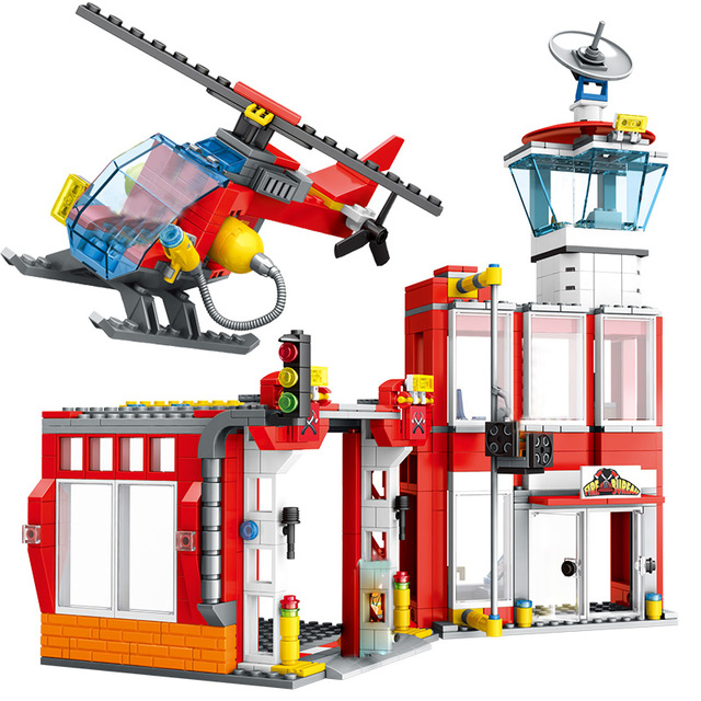 837pcs City Police Station DIY Building Blocks Compatible City Fire Rescue Fire Truck Helicopter Bricks Toys for Boys