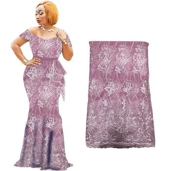 Latest African Lace Fabric 2019 Tulle With Beads Nigerian fabric High Quality