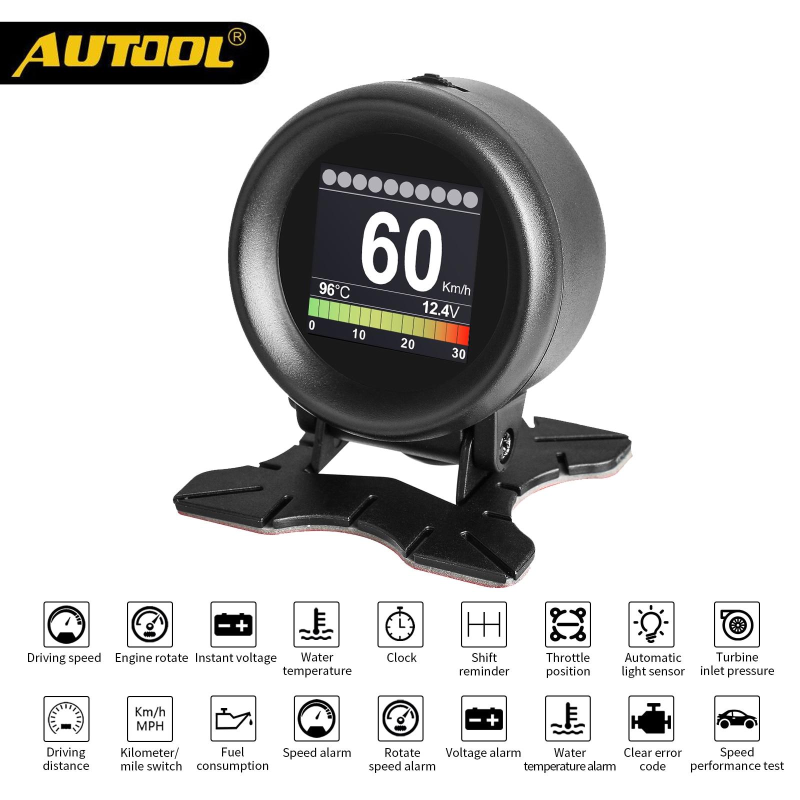 AUTOOL X60 OBD METER OBD 2 HUD Digital Temperature Gauge Digital Voltage Speed Meter Display Meter Alarm Water