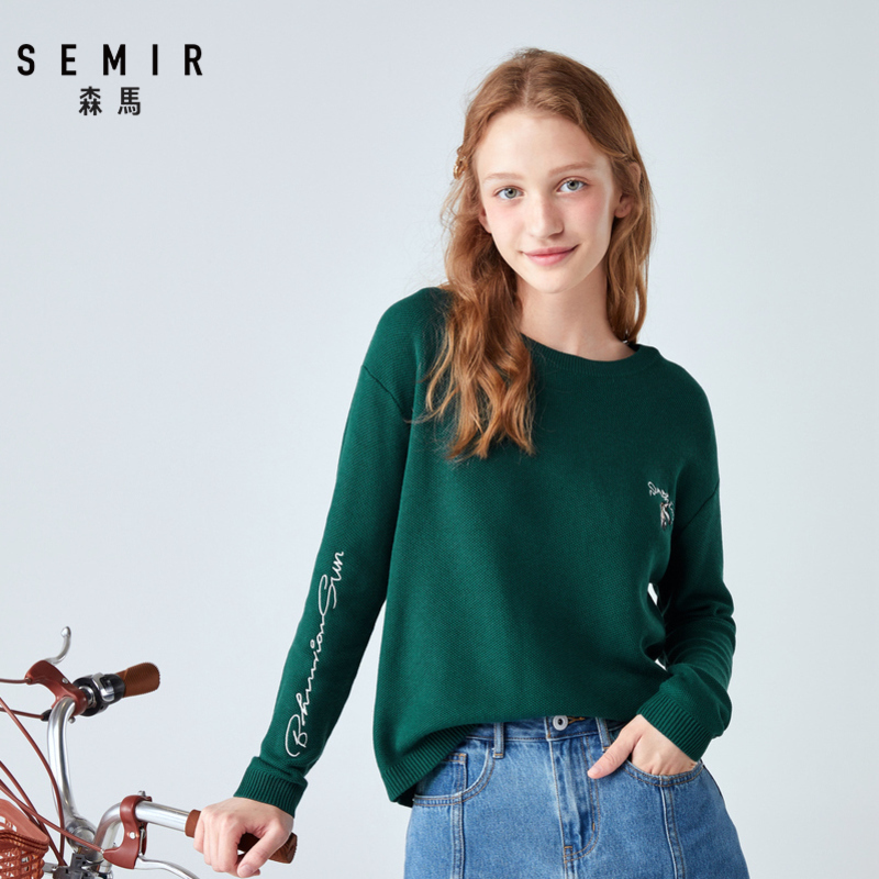 SEMIR Loose Outer Wear Sweater Women Head Round Neck Drop Shoulder Sleeve Knit Sweater Contrast Color Embroidery Warm Girls Tops