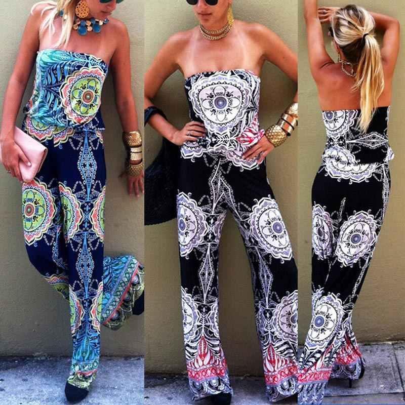 Модные женские комбинезоны с открытыми плечами и цветочным принтом без рукавов Boho летние пляжные вечерние длинные комбинезоны-OPK