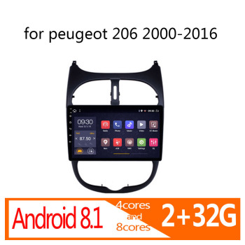 autoradio android 2+32G for peugeot 206 2000-2016 car radio coche audio auto stereo vehicle player atoto multimedia navigator BT image