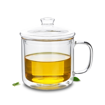 4 pcs/lot 400ml Heat-Resisting Double Wall Glass Tea Drink Cups Mugs With Lid