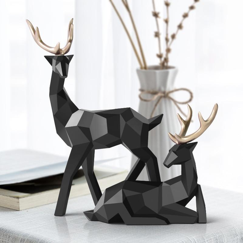 2x Artificial Deer Standing Animal Figurine Art Décor for Indoor Home Office