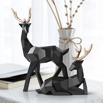 Nordic Figurines Deer Statue Geometric Resin Home Decor Statues Deer Figure Sculpture Modern Decoration Abstract Home Decoration nordic macaron color french bulldog ceramic figurines collectibles for home decor weddings centerpieces porcelain animal statues