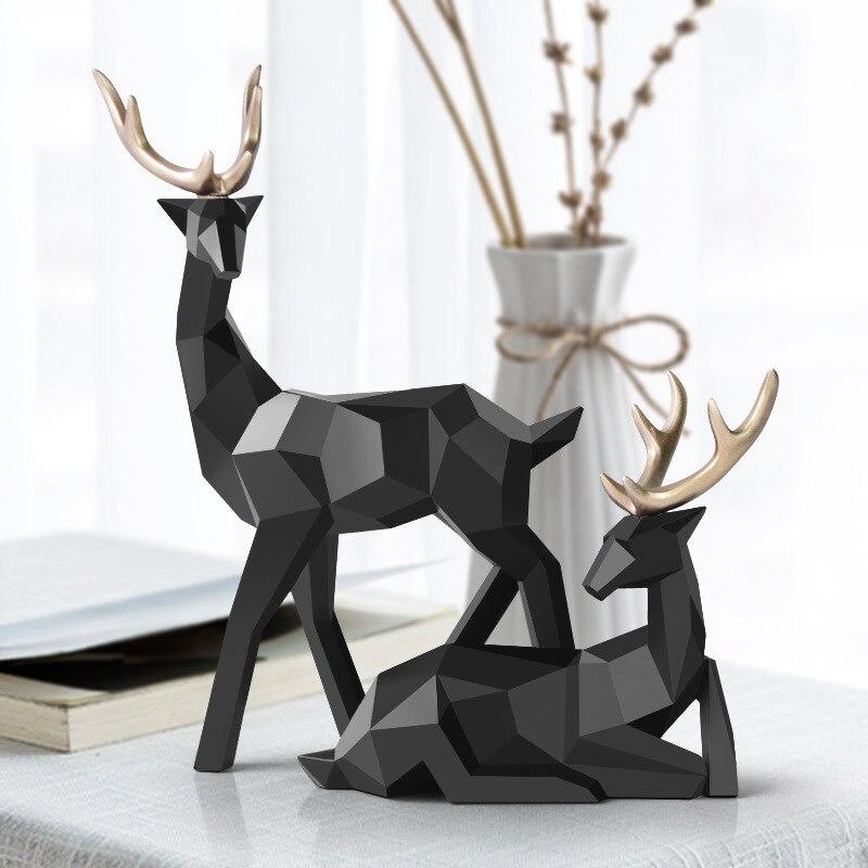 Ev ve Bahçe'ten Statü ve Heykelleri'de İskandinav figürler geyik heykeli geometrik reçine ev dekor heykelleri geyik şekil heykel Modern dekorasyon soyut ev dekorasyon title=