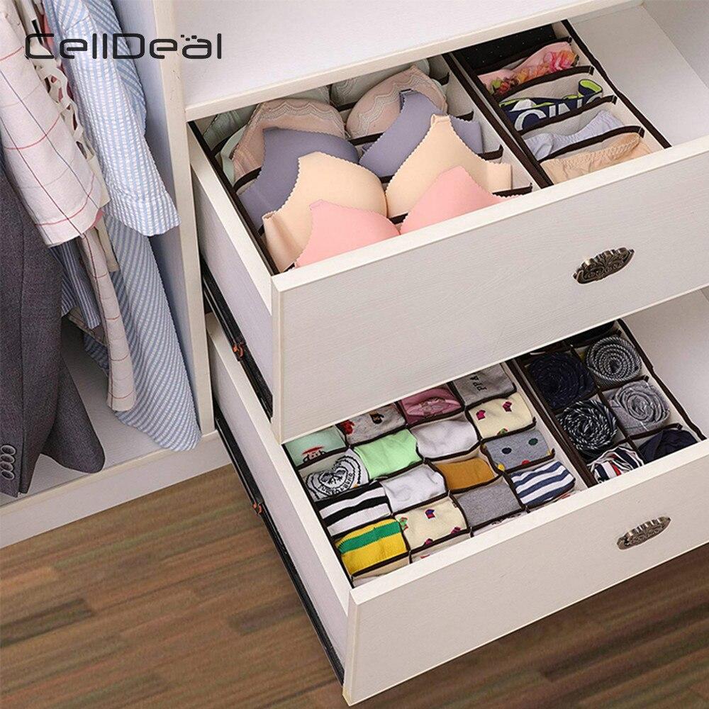 Celldeal multi-tamanho dobrável caixas de armazenamento roupa interior armário gaveta divisor lidded closet organizador para laços meias sutiã underwea