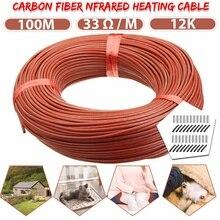 100 м нагревательный кабель теплый нагревательный провод теплица овощи фермы нагревательное оборудование домашний Пол теплый 12 к углеродное волокно нагревательный провод