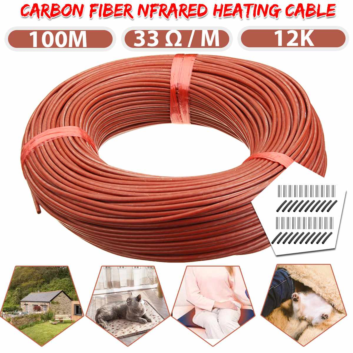 100M Heating Cable Warm Heater Wire Greenhouse Vegetables Farm Heating Equipment Home Floor Warm 12k Carbon Fiber Heating Wire