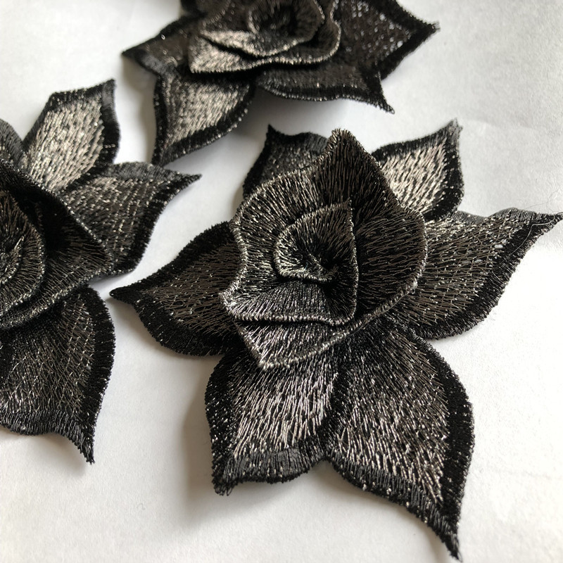 Three-dimensional Flower Embroidery Cloth Sticker Water-soluble Computer Embroidery Patch Clothing Decoration Accessories 1 Pcs