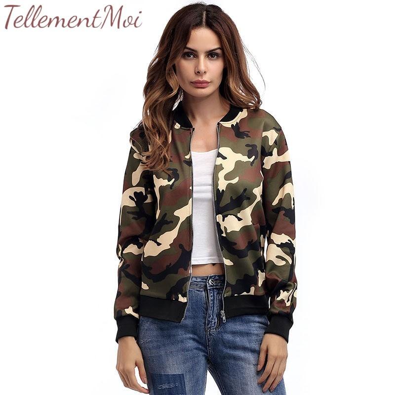 2019 Fashion Windbreaker   Jacket   Women Coats Long Sleeve   Basic     Jackets   Bomber Women's Camouflage   Jacket   Female   Jackets   Outwear