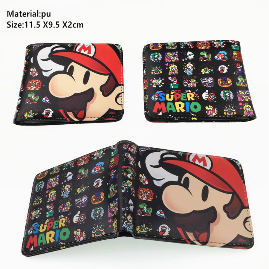 Game Super Mario PU Wallet Boys Girls Student Leather Coin Zip Pocket Short Bifold Photo Card Holder Cartoon Purse Men Moneybag
