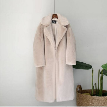New Women Winter Warm Faux Fur Coat Thick Women Long Coat Turn Down Collar Women Warm Coat With Belt Casaco Feminino 17