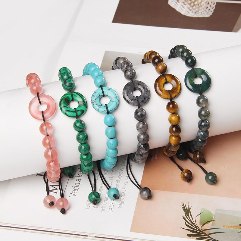 Natural Green Lucky Jad Buckle Bracelets Women Reiki 8 mm Tiger Eye Stone Beads