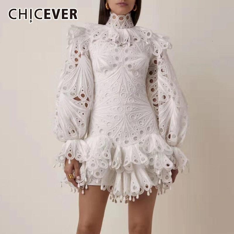 CHICEVER elegante ahueca hacia fuera el vestido para las mujeres cuello alto manga Flare vestidos de cintura alta femenino 2020 primavera nueva ropa de moda