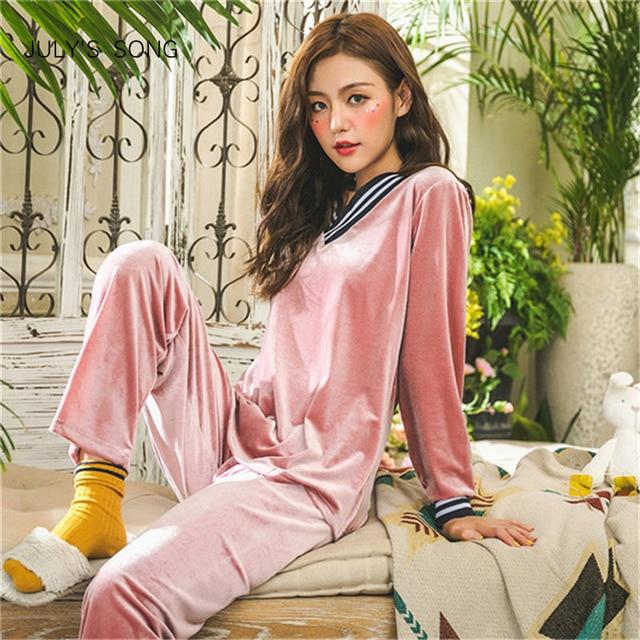 JULYS şarkı kış sıcak pijama seti kadın uyku seti derin altın kadife pijama pijama uzun kollu gecelik 2 parça kıyafeti