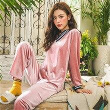 Julysong s canção inverno quente pijamas conjunto de sono feminino profundo ouro veludo pijamas sleepwear manga longa homewear 2 peice nightwear