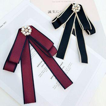 Korean Vintage Women Girls Brooch Bow Tie Imitaion Pearl Rhinestone Flower Jewel chic faux pearl rhinestone number shape brooch for women