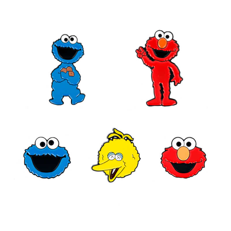 Sesame Street Elmo Cookie Monster Metal Anime Cartoon Brooches Pin Breastpin Brotheroch Fashion Backpack Brooch Badge Gift