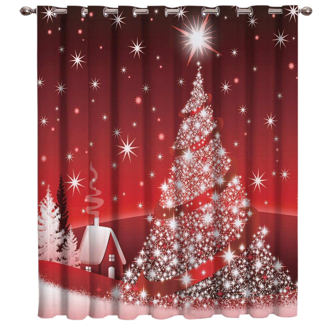 Merry Christmas Tree Window Treatments Curtains Valance Bathroom Outdoor Indoor Kids Window Treatment Valances Window Treatment