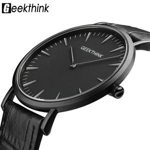 Image 1 - GEEKTHINK Top Brand Luxury Quartz watch men Business Casual Black Japan quartz watch genuine leather ultra thin clock male New