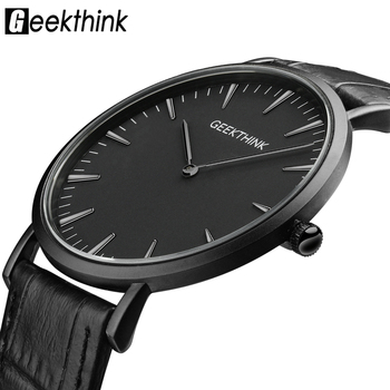 GEEKTHINK Top Brand Luxury Quartz watch men Business Casual Black Japan quartz-watch genuine leather ultra thin clock male New geekthink top brand luxury quartz watch men business casual black japan quartz watch genuine leather ultra thin clock male new