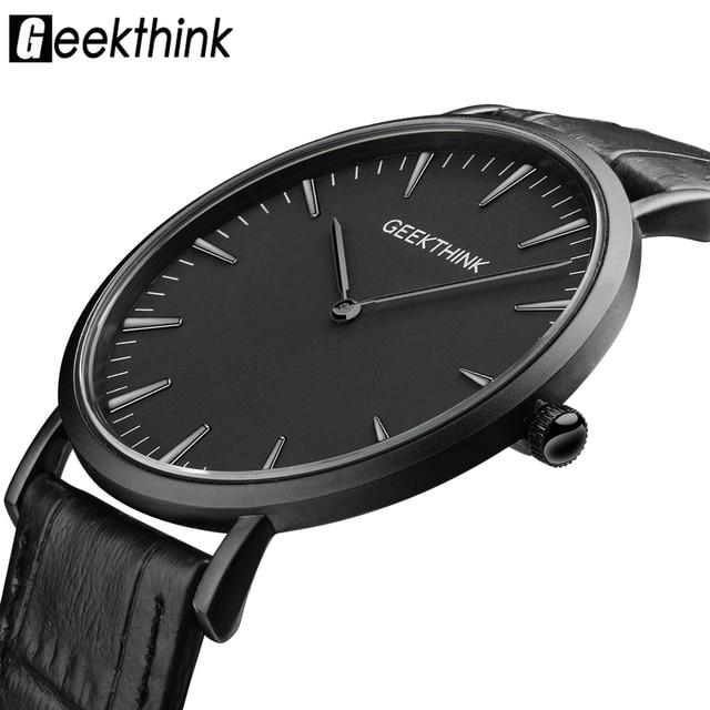 GEEKTHINK Top Brand Luxury Quartz watch men Business Casual Black Japan quartz watch genuine leather ultra thin clock male New
